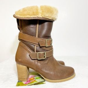 Barena Italy Brown Faux Fur Line Heel Boot SZ 7